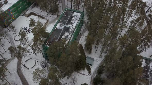 Thumbnail for Area of Resort Hotel in Forest in Winter, Aerial Shooting