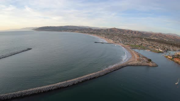 Ventura Harbor Aerial Flying Above Soters Point Marina Park Overview