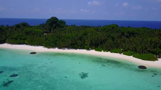 Thumbnail for Beautiful overhead tourism shot of a white sandy paradise beach and aqua blue ocean background