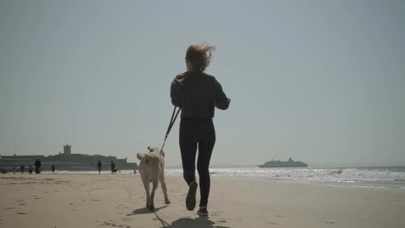 Thumbnail for Rear View of Young Girl Running with Dog on Sandy Seashore