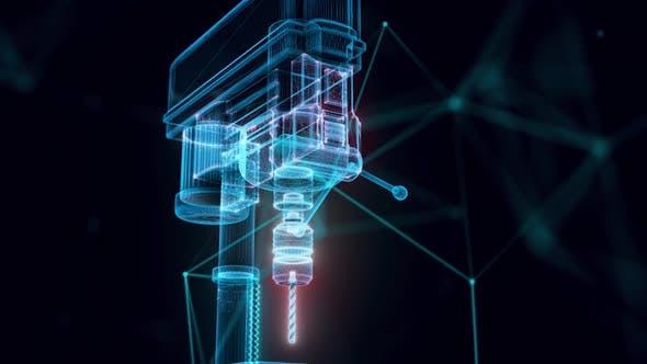 Industrial Drill Press Hologram Close Up Hd