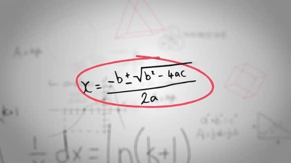 Animation de formules mathématiques manuscrites dans des cadres rouges dessinés à la main se déplaçant sur fond blanc