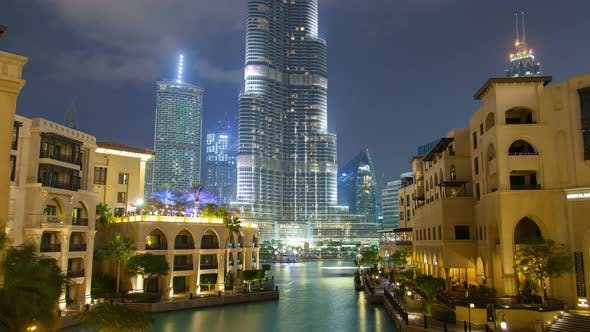 Thumbnail for Downtown Dubai at Night . Pan Up