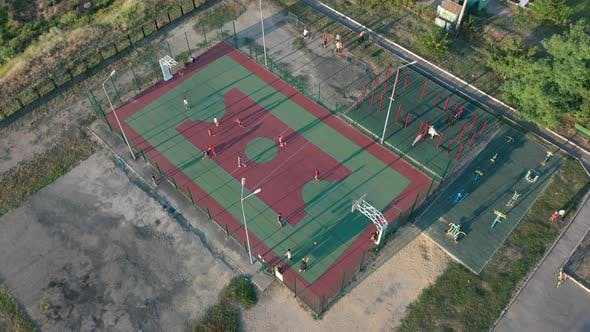 Cover Image for Aerial View. Park with a Basketball Field and a Training Platform. Sports Area