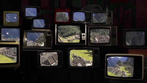 Thumbnail for Machu Picchu, the Lost City of The Andes, On Retro TVs from the 80s.
