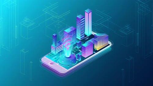 4K -  İsometric Mobile Phone Smart City