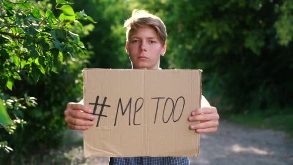 a Young Teenager of Caucasian Ethnicity a Man in a Blue Shirt Holds a Cardboard Box on Outstretched