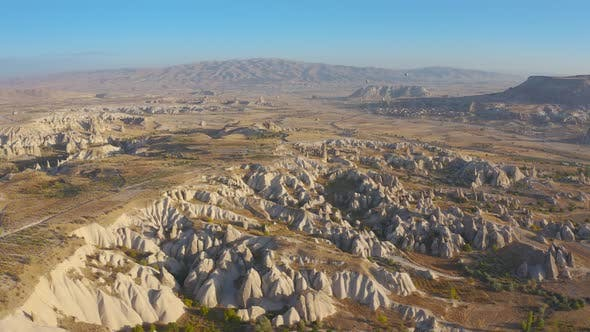 Cappadocia Aerial Drone View Volcano Rock Formation and Ancient Caves