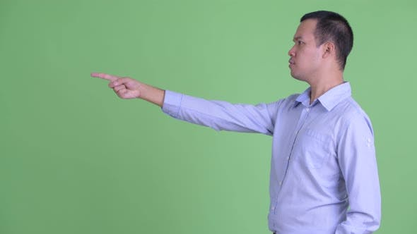 Cover Image for Profile View of Happy Asian Businessman Pointing Finger