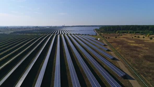 Thumbnail for Flight Over Solar Panel Farm