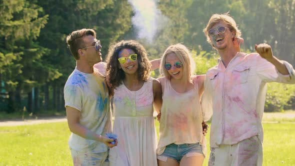 Thumbnail for Young Excited People Hanging Out at Color Festival Holi, Extra-Slow Motion
