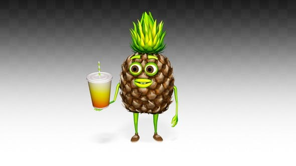 Thumbnail for Pineapple Character Shows Drink
