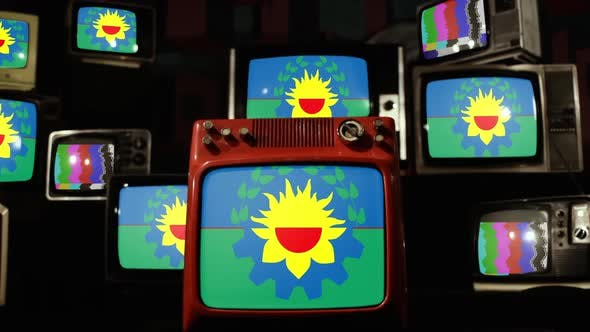 Thumbnail for Flag of Buenos Aires Province, Argentina, and Retro TVs.