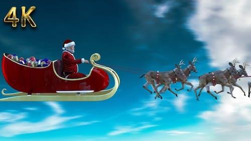 Realistic santa claus and deers