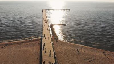 Aerial View Palanga Pier In Lithuania