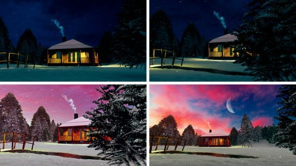 Thumbnail for Snow Falling On a Wooden Cabin Pack