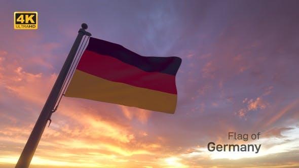 Germany Flag on a Flagpole V3 - 4K