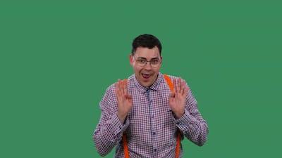 Portrait of a Dancing Man on a Green Screen