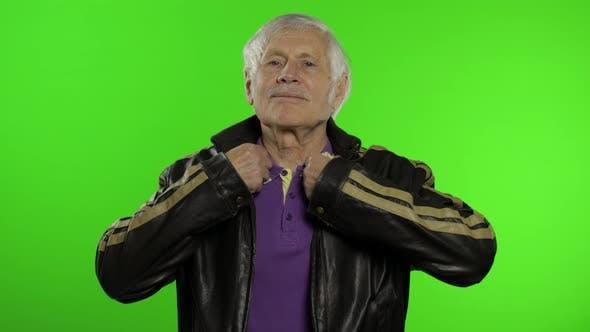 Thumbnail for Elderly Caucasian Grandfather Rocker and Biker Man on Chroma Key Background