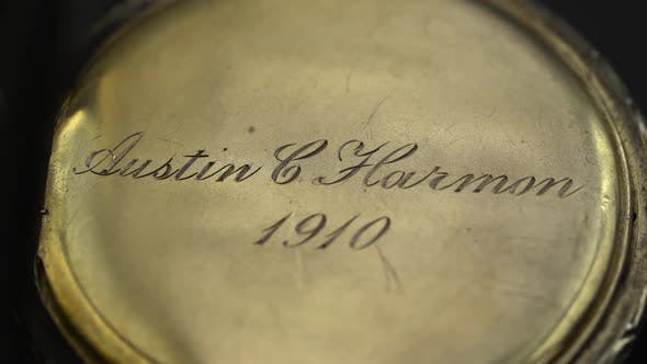 Thumbnail for Engraving on a Vintage Clock Close Up