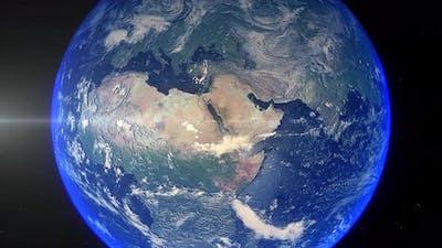Realistic Earth Zoom Out Clouds Saudi Arabia Mecca