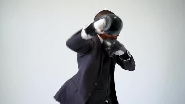 Thumbnail for Professional African-american Business Man - Wearing Box Gloves and Boxing