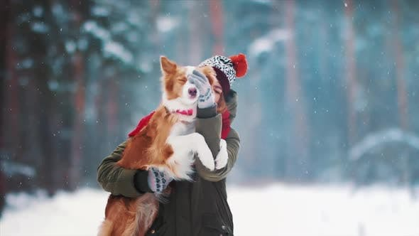 Thumbnail for Smiling Lady Take Free Time Together with Her Dog. Portrait of Woman Hug Her Border Collie in Winter