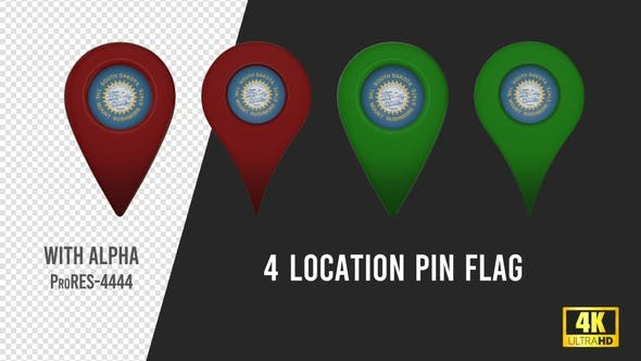 South Dakota State Flag Location Pins Red And Green