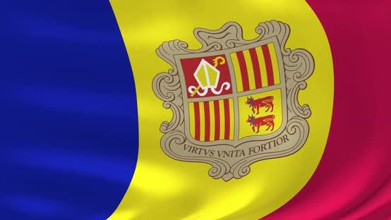 Flags of the World - Flag of Andorra. Waved Highly Detailed Flag Animation.
