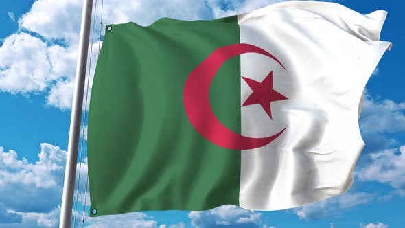 Thumbnail for National Flag of Algeria on Sky Background