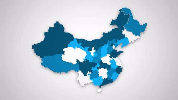 Motion Graphics Animated Map of China Forming - White