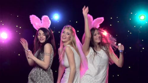 Girls at Bachelorette Party Dancing and Having Fun. Slow Motion