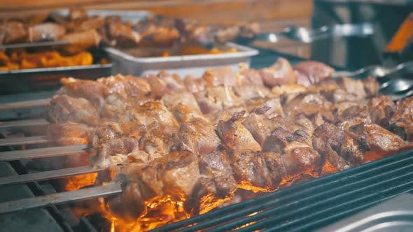 Thumbnail for Shish Kebab Cooked on the Grill on the Street Market