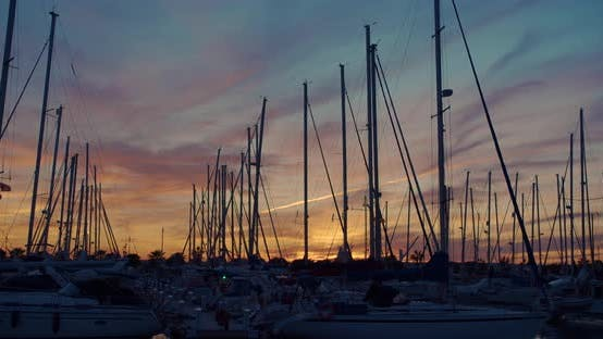 Marina with Yachts, Evening Time at Sunset. Timelapse.