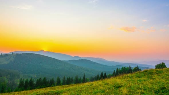 The Mountain Valley on Background of Sunrise