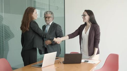 Smiling Friendly Businesspeople Closing Deal