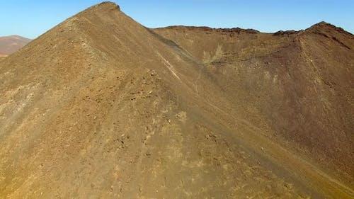 Aerial view of volcano path in the Caldera de Gairia at Fuerteventura.