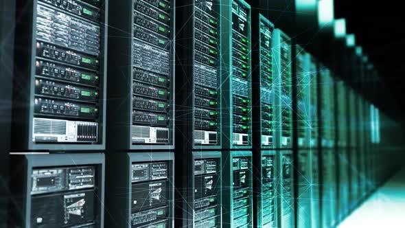 Thumbnail for Digital Data Server With Plexus Elements In Dark Room Analysing Digital Data 4k