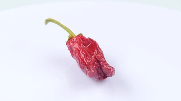 Thumbnail for Dried Red Chili Peppers. White.Rotating. Close Up