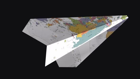 Thumbnail for Paper Plane -  World Map - Side Angle - II - Transparent Loop