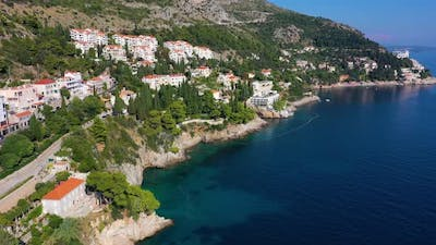 Croatia. Aerial view on the seashore. Vacation and adventure. Town and sea.