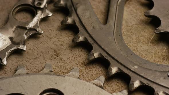 Cinematic, rotating shot of gears