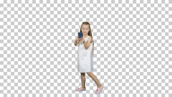 Thumbnail for Happy little girl take a selfie with a smart phone, Alpha Channel