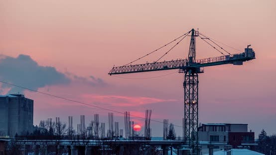 Cover Image for Footage Time Lapse of Sunset in a Industrialized Are of the City