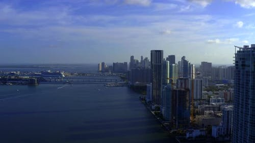 Blue Hue Aerial Drone Video Miami Waterfront Scene View Towards Downtown