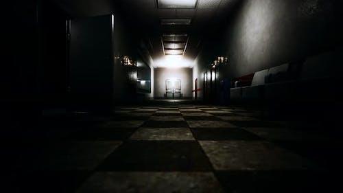 Empty Dark Hospital Laboratory Corridor