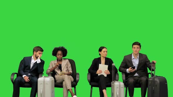 Business Lounge People Waiting for Their Flights on a Green Screen Chroma Key