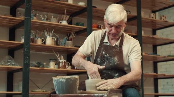 Senor Man During the Pottery Art