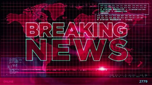 Breaking News broadcast on digital screen
