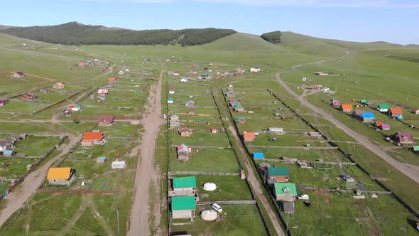 Aerial View of Little Town Landscape of Colorful Houses in Mongolia